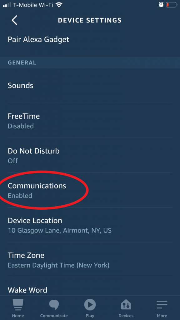 Choose Communications item under Echo device settings to turn off drop in option